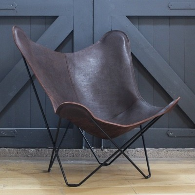 Cuero Design Leather Butterfly Chair-Vintage Chocolate-Black