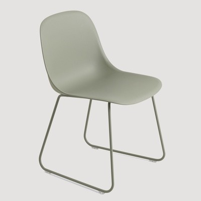 Muuto Fiber Side Chair Sled Base-Dusty Green