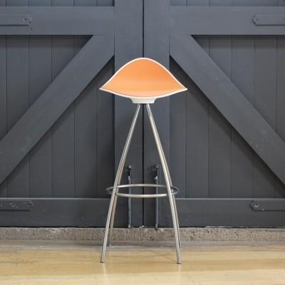 STUA Onda Swivel Bar Stool-White/Orange-76.5cm-Matt Chrome