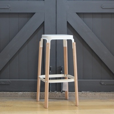 Magis Steelwood Stool-Natural & White-78cm - Ex Display