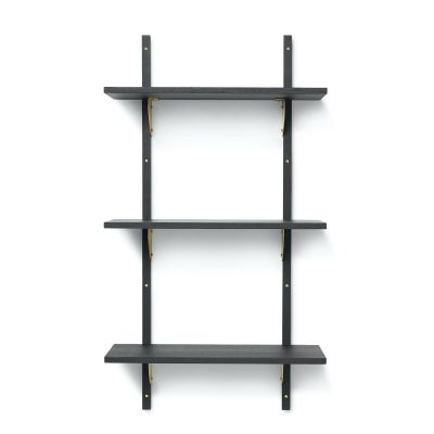 Ferm Living Sector Shelf - Triple - Narrow in black with brass brackets