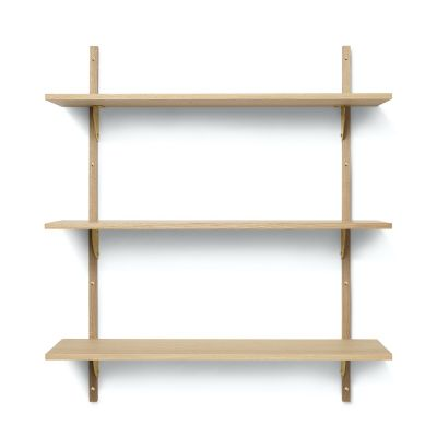 Ferm Living Sector Shelf - Triple - Wide in oak and brass