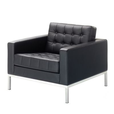 Robin Day Club arm chair in Black leather