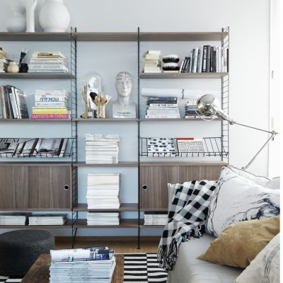 String Shelving System Walnut and Black