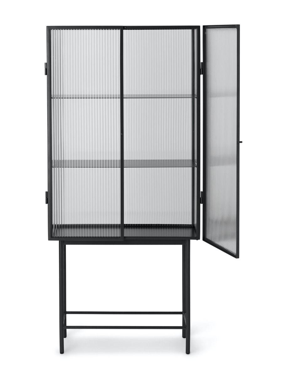 Ferm Living Haze Vitrine - Reeded Glass in black with a door open