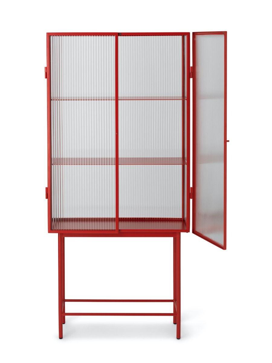 Ferm Living Haze Vitrine - Reeded Glass poppy red
