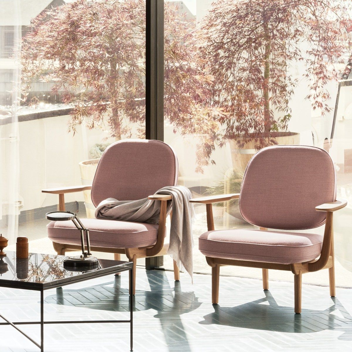 Fritz Hansen Fred Easy Chair pair in front of window