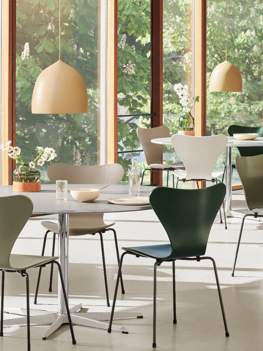 Fritz Hansen Series 7 Chair - Coloured Ash in canteen with Suspence pendants