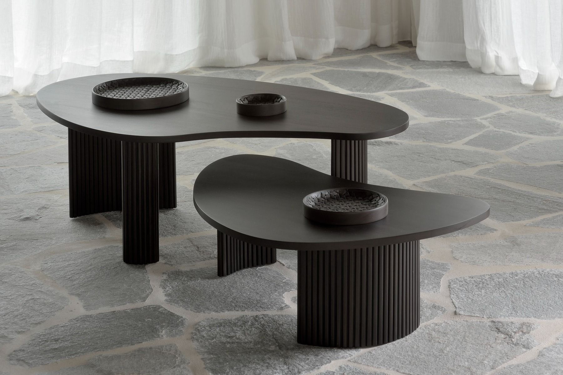 Ethnicraft Mahagony Boomerang Dark Brown Coffee Table