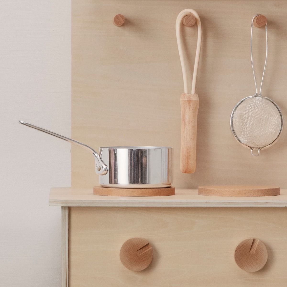 Ferm Living Toro Play Kitchen detail of solid beech parts