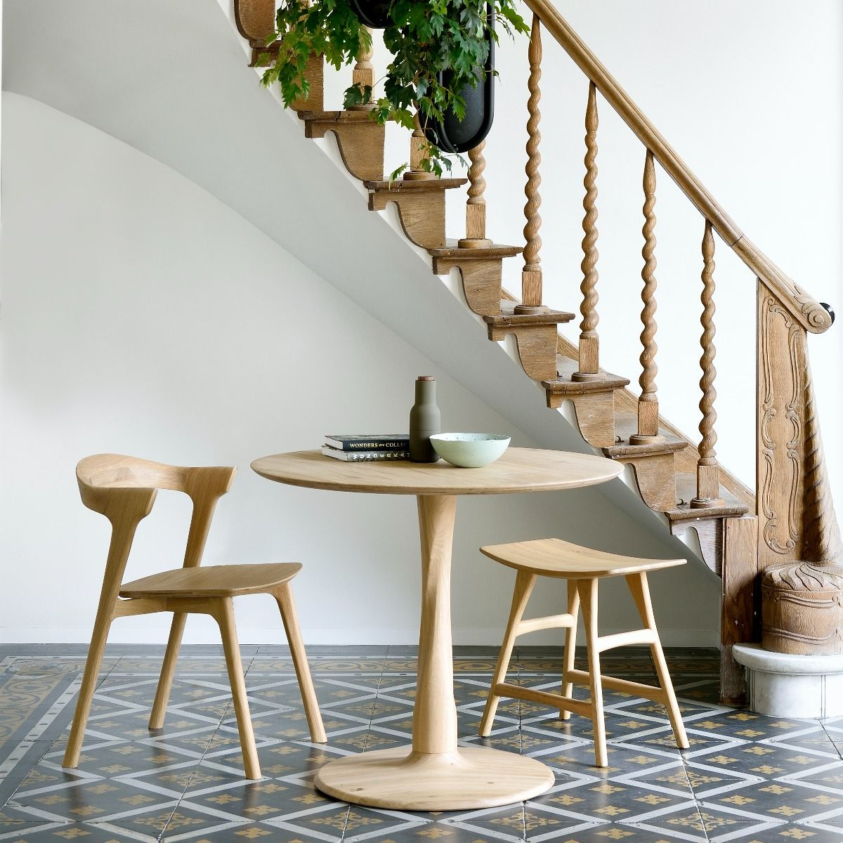 Ethnicraft Torsion Table in Oak in hall with bok chair and osso stool