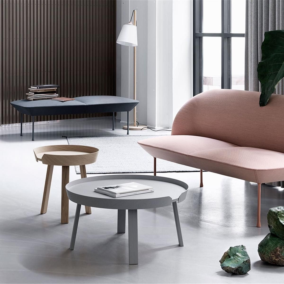 Muuto Pull Floor Lamp in an interior next to bench