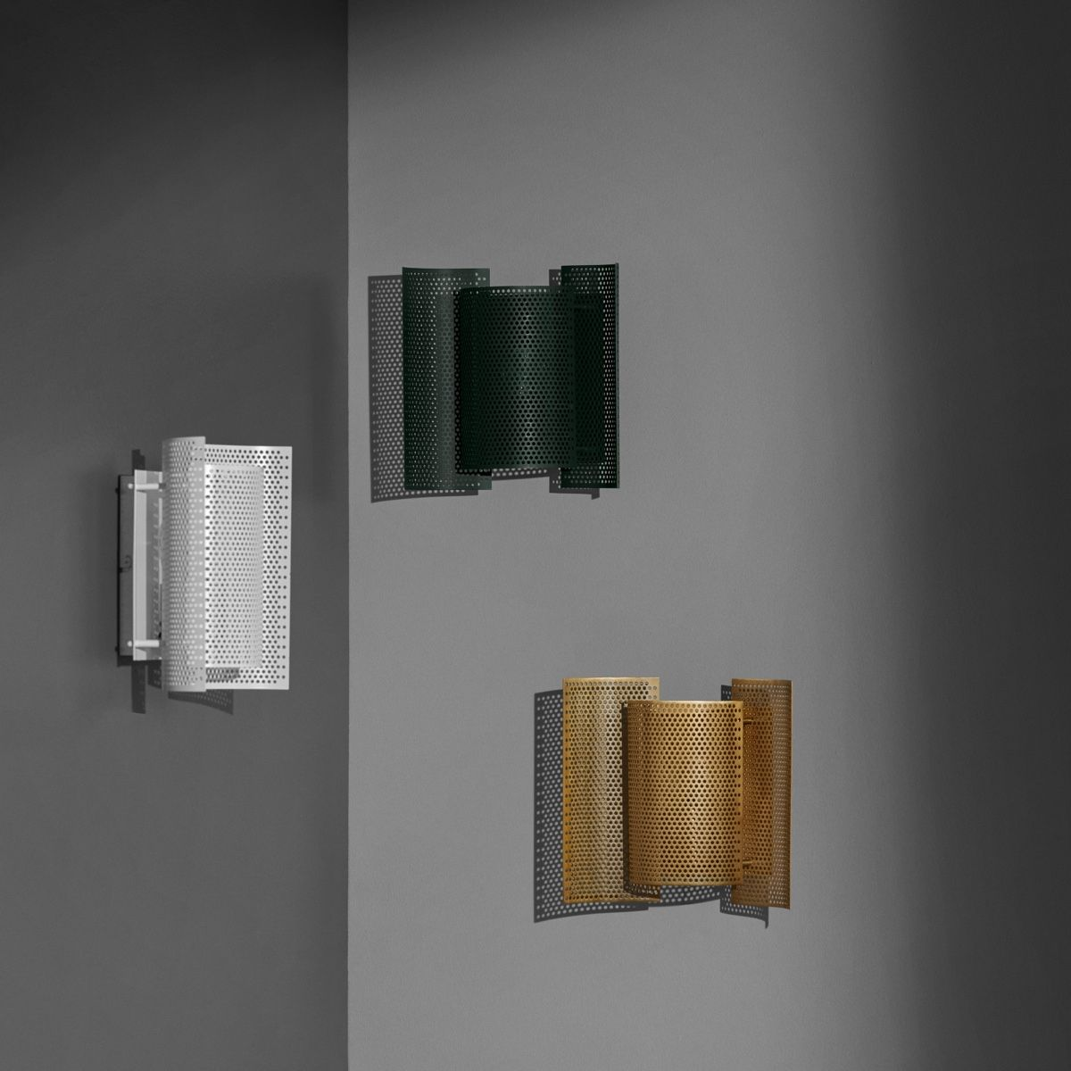 Northern Butterfly Wall Light - Perforated all colours on a wall