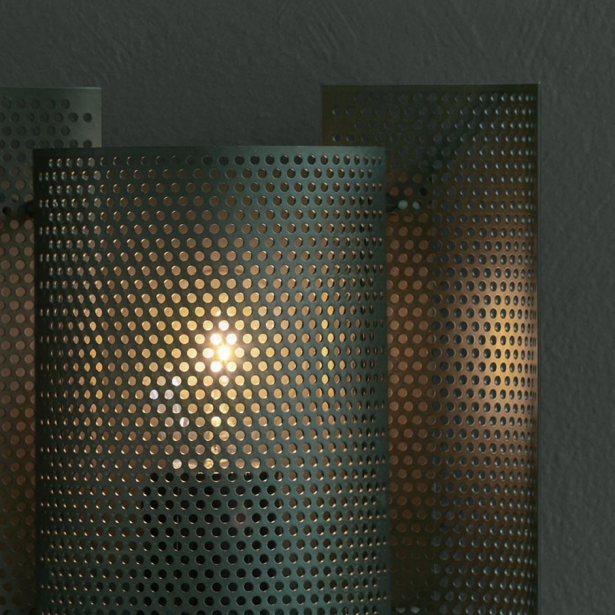 Northern Butterfly Wall Light - Perforated -  Green Detail - On