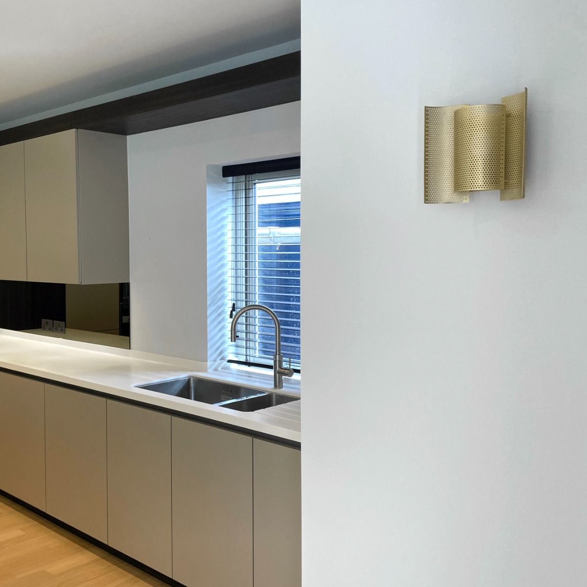 Northern Butterfly Wall Lights - Perforated - Brass - Off - Fitted in a kitchen