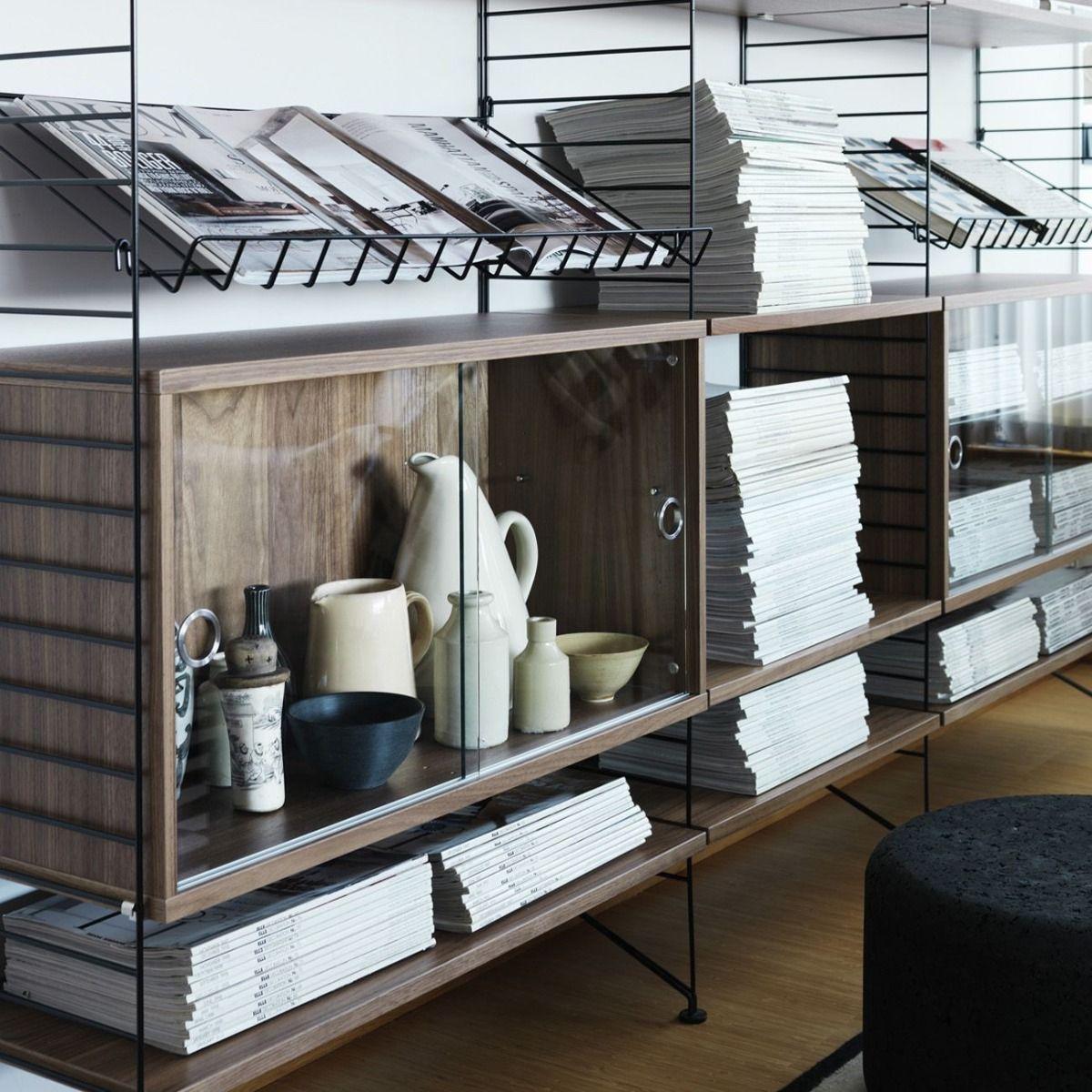 String Display Cabinet Walnut