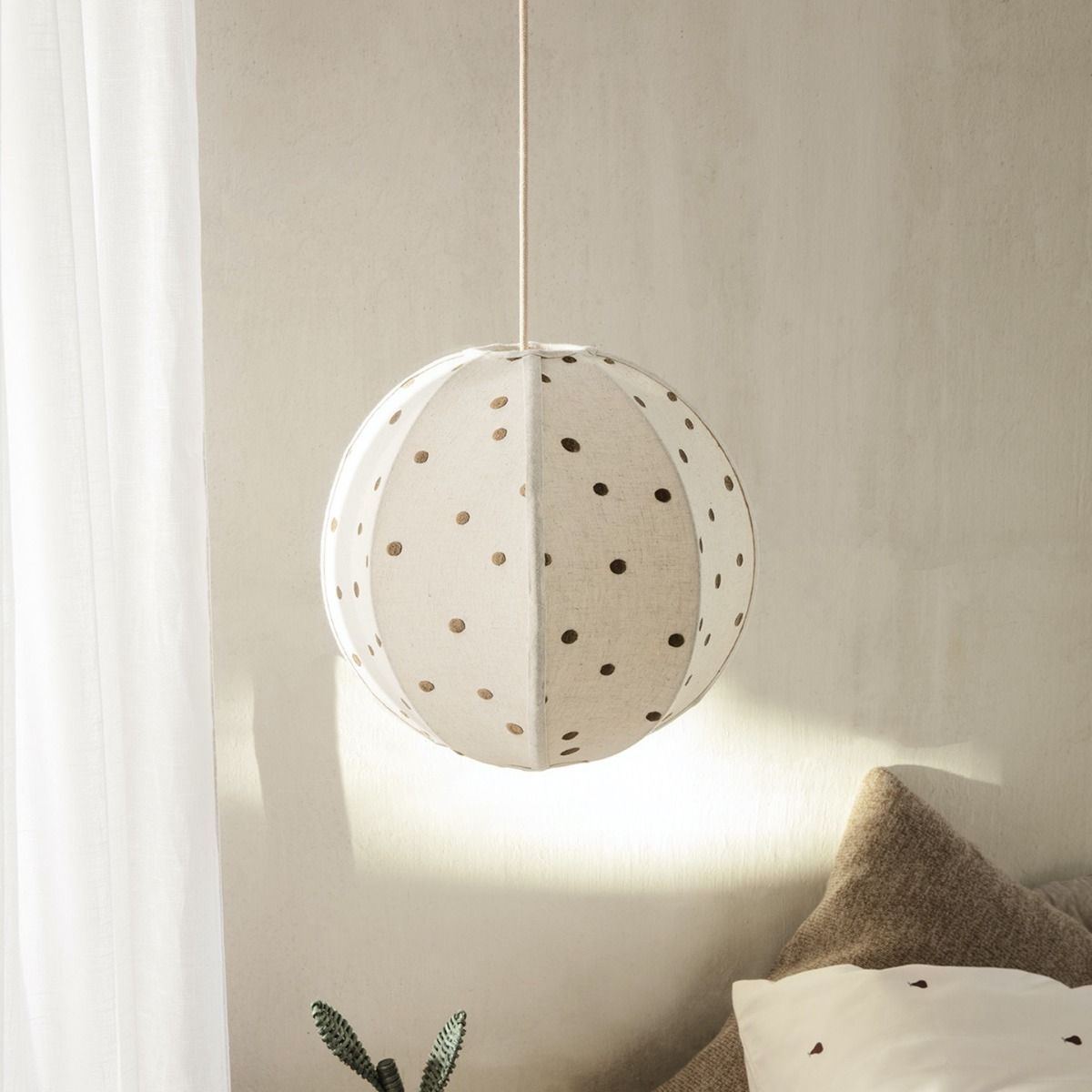 Dots Embroidered Textile Lampshade hanging in kids room