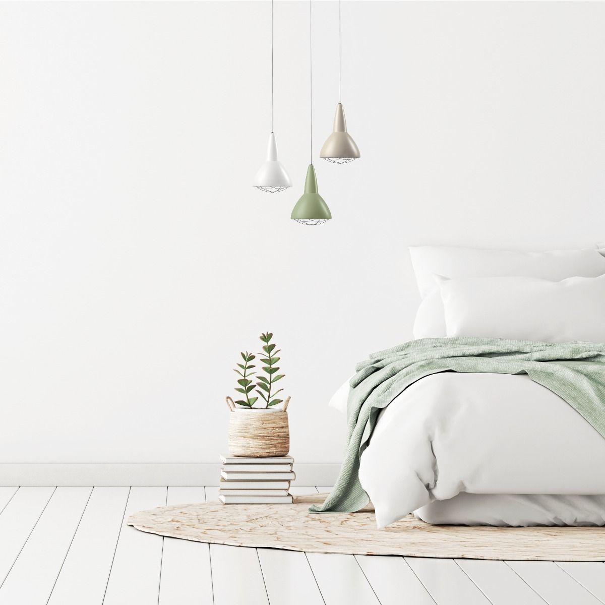 CPH Grid pendant hanging next to bed, white, beige, green