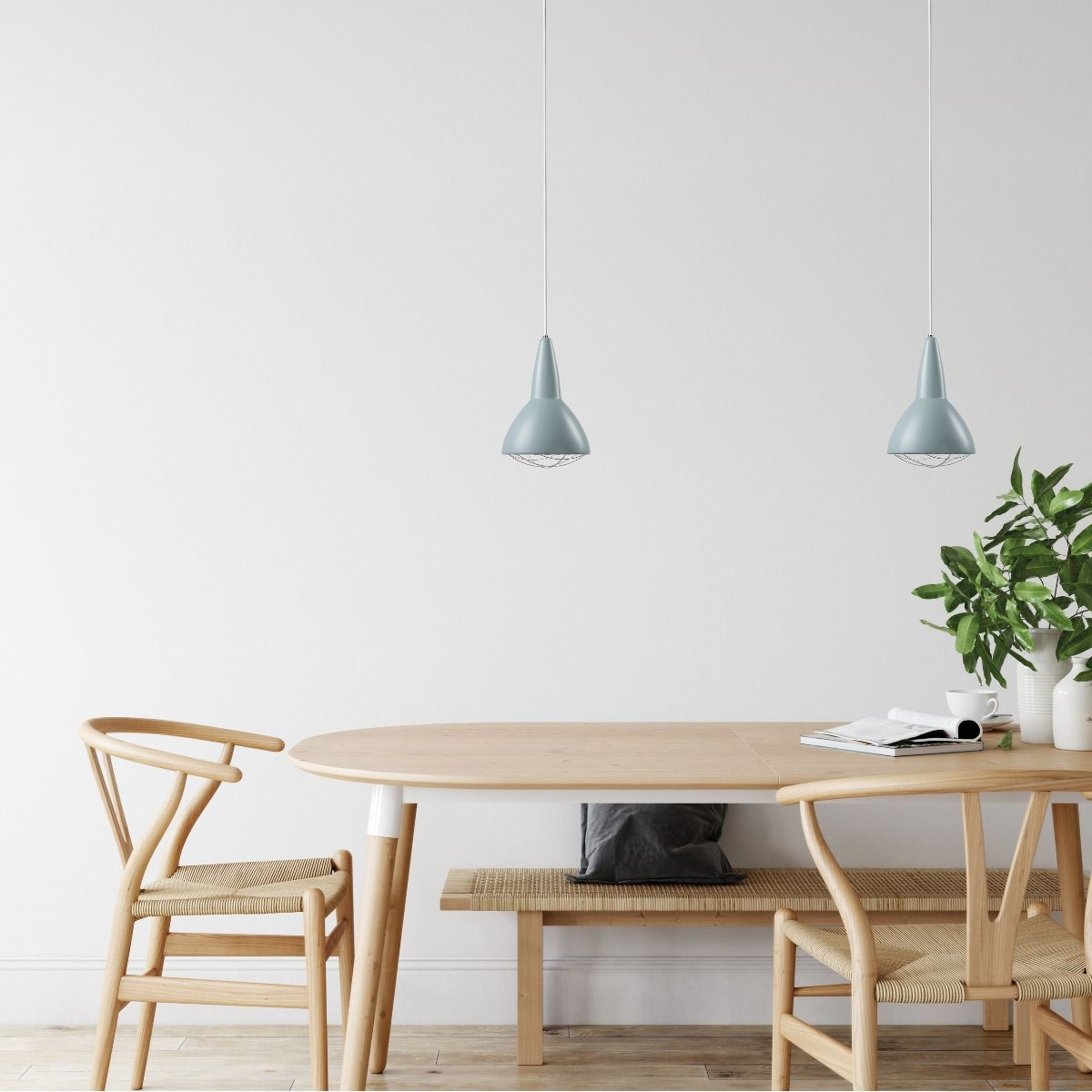 CPH lighting Grid pendant blue hanging over table
