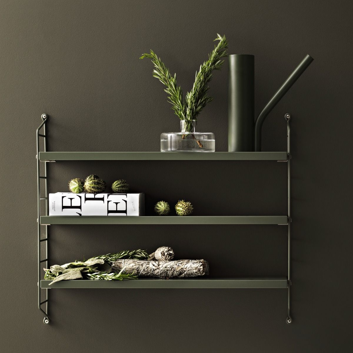 String Shelving Pocket shelf on a green wall and rosemary
