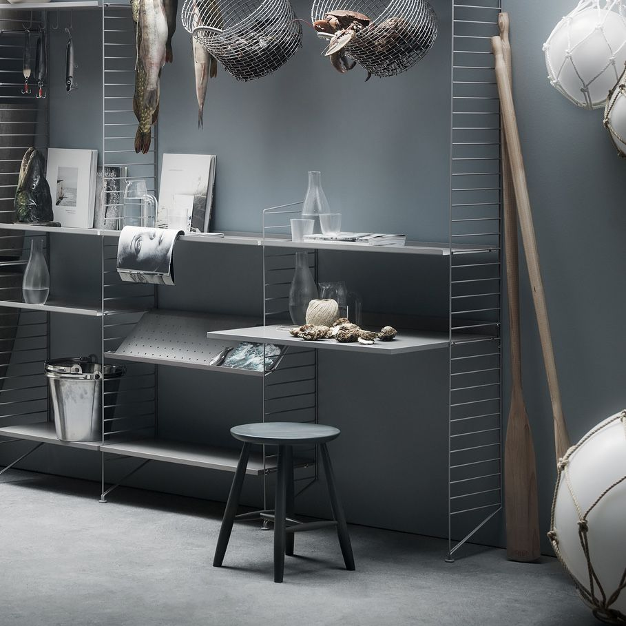 String shelving system end panel 115 x 30cm grey with desk