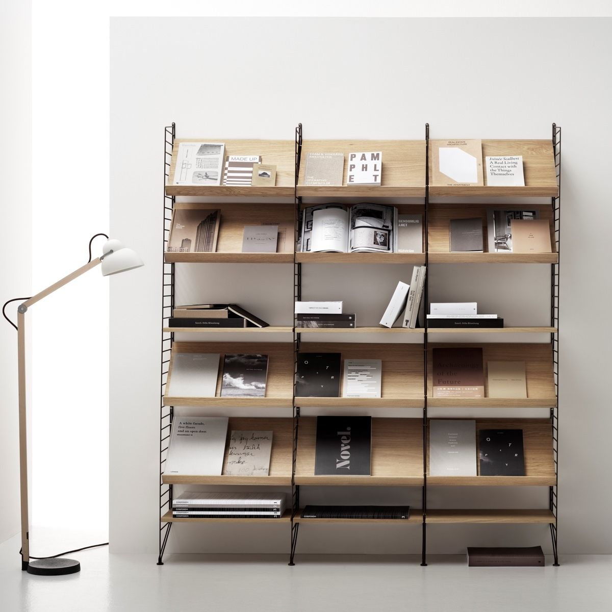 String Shelving Wood Magazine Rack 58 X 30cm oak and brown system