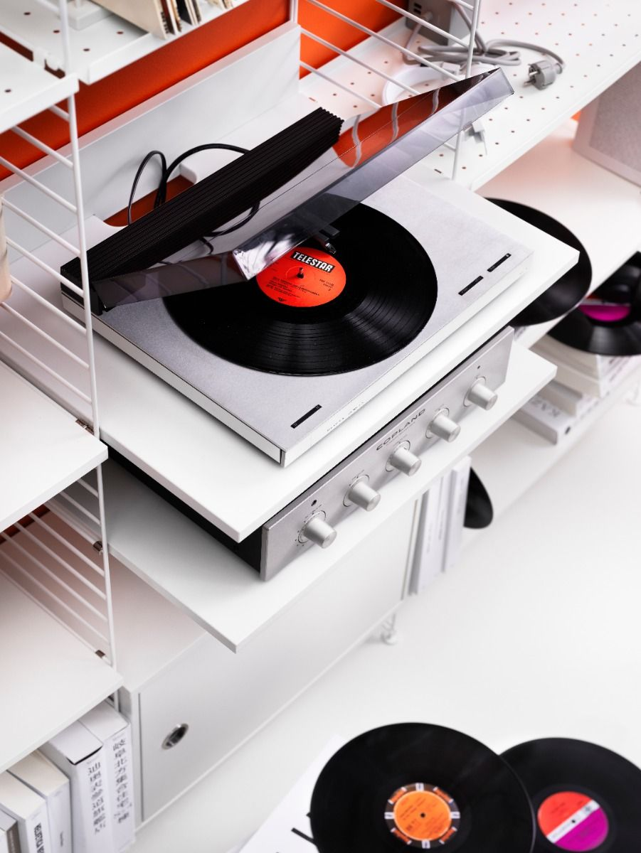 String shelving media shelf with record player and amp top view