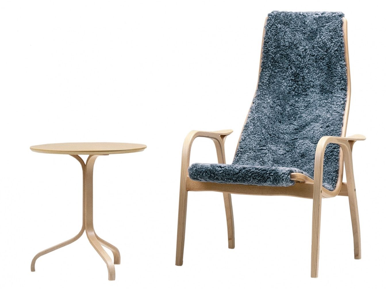 Lamino Easy Chair with Lamino table in beech