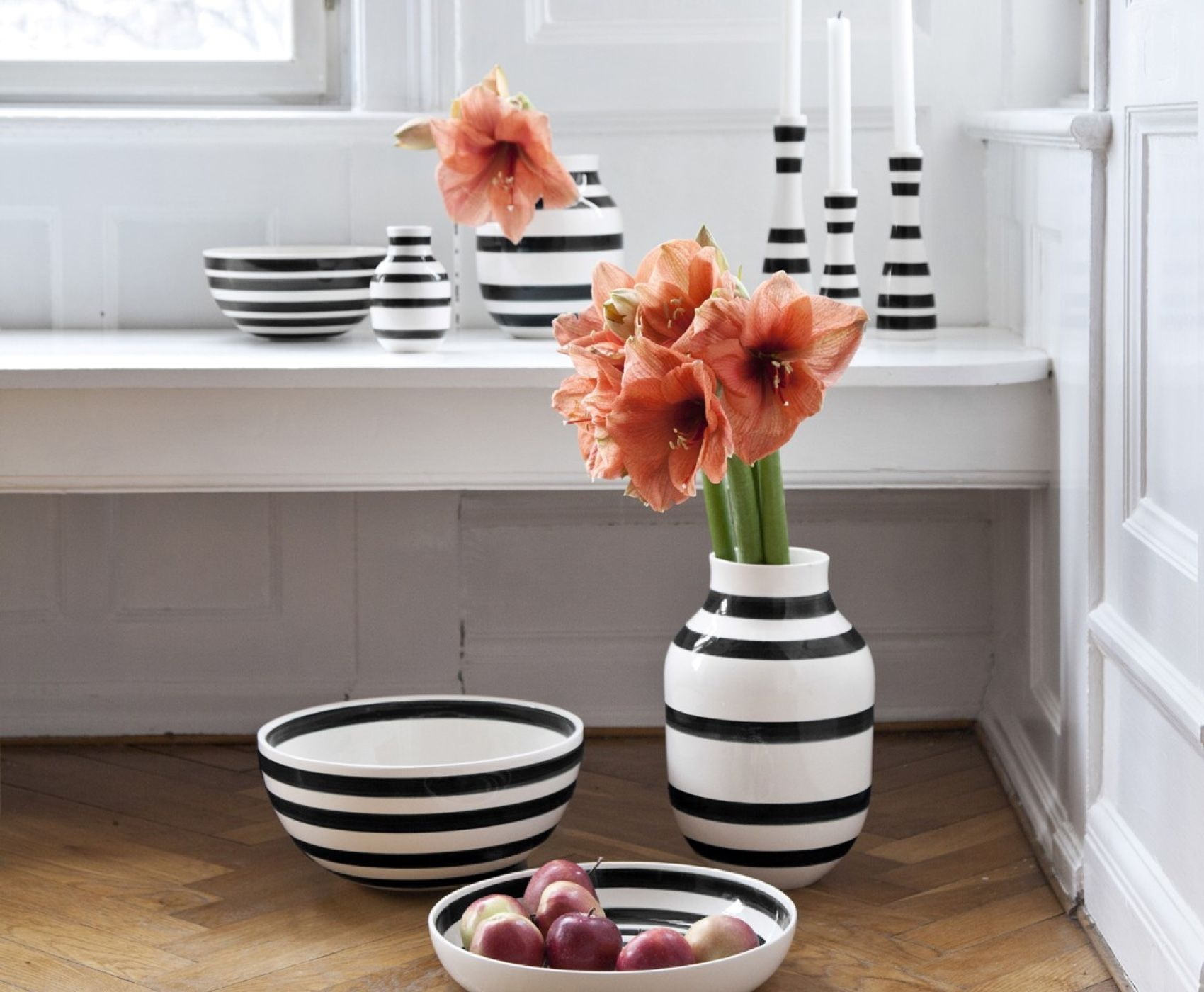 Kahler Omaggio Vase collection on window seat