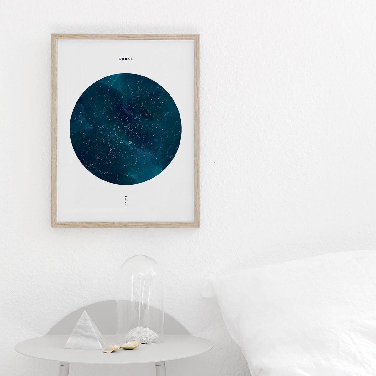 Above poster in oak frame above bedside table