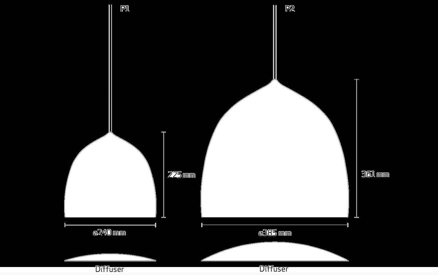 Fritz Hansen Suspence Pendant Light dimensions