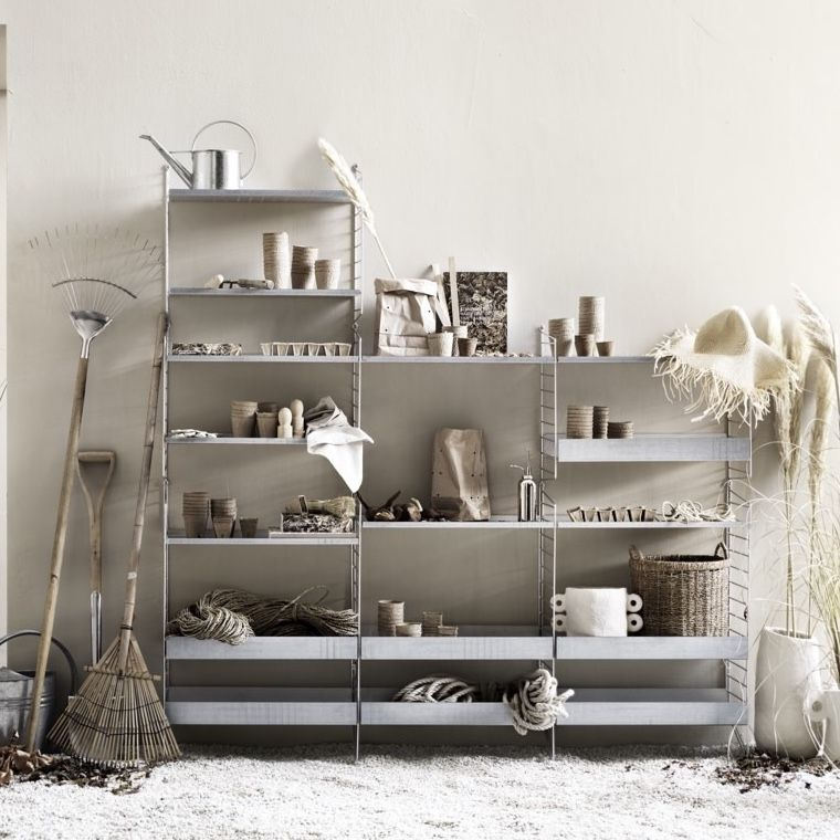 String Shelving System in galvanised system with high and low edge shelves