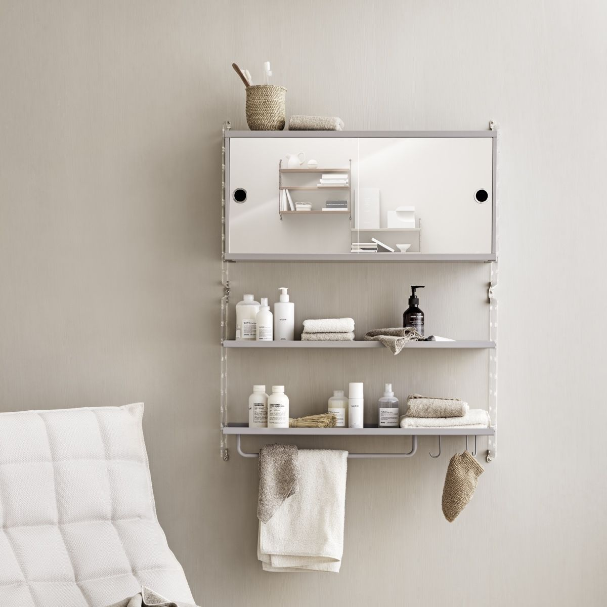 String Metal Shelves 78 x 20cm beige and bathroom cabinet with plexi end panels