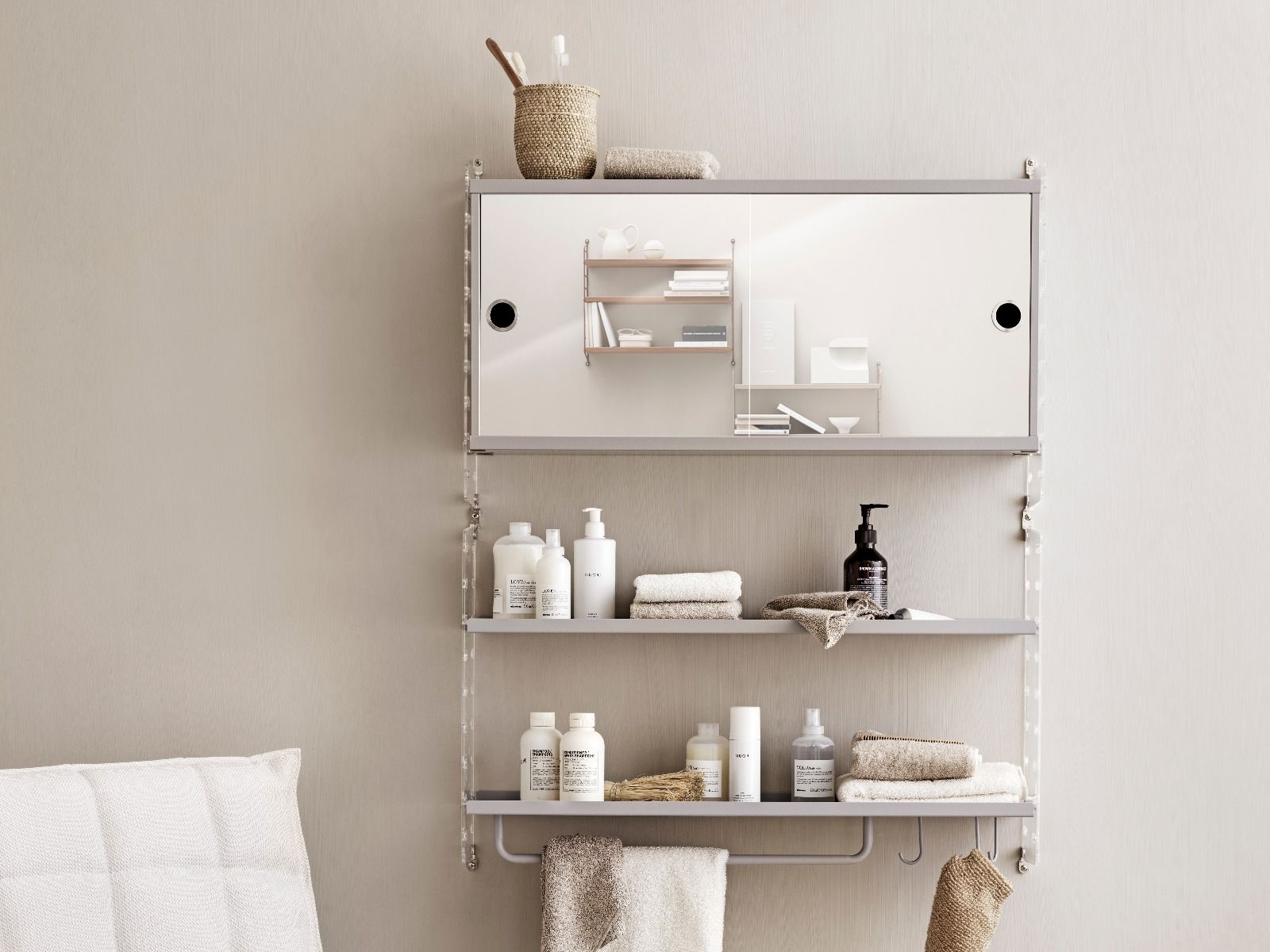 String shelving plexi end panel  used with bathroom cabinet