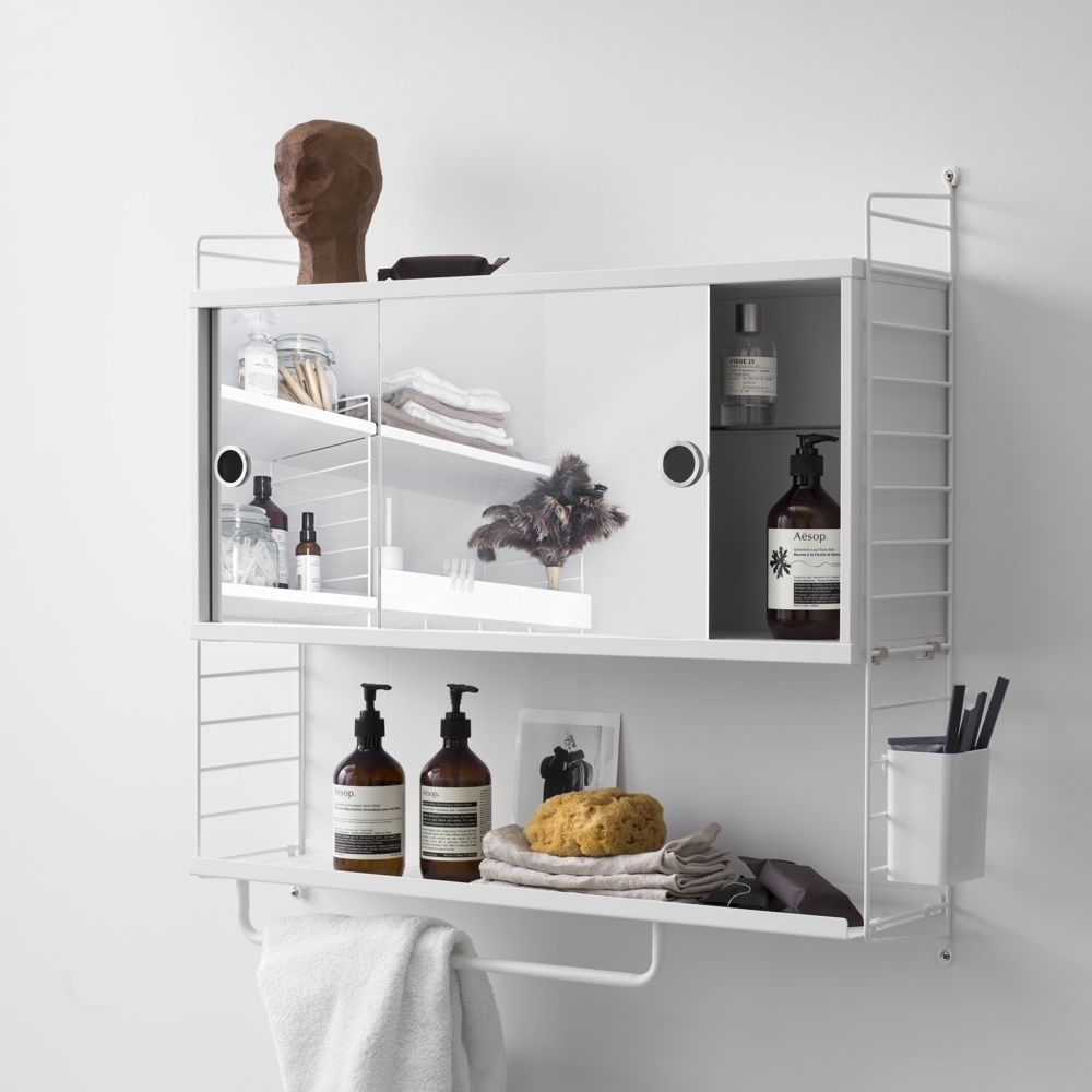 String Shelves 78 X 20cm on a bathroom cabinet