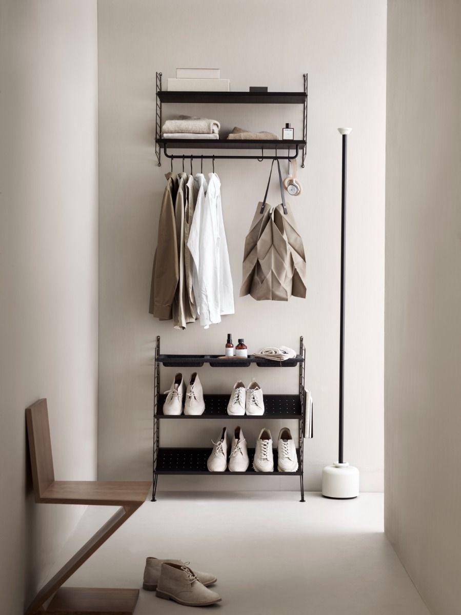 string shelving hall way system including coat hangers