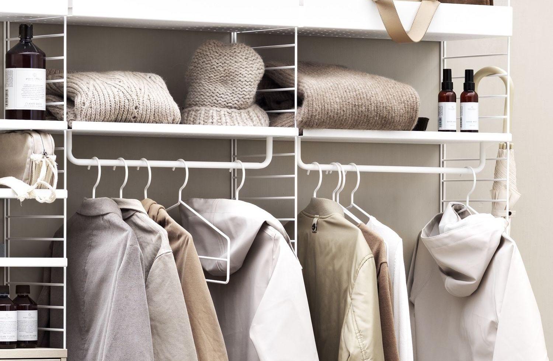 coats hanging on string coat hangers
