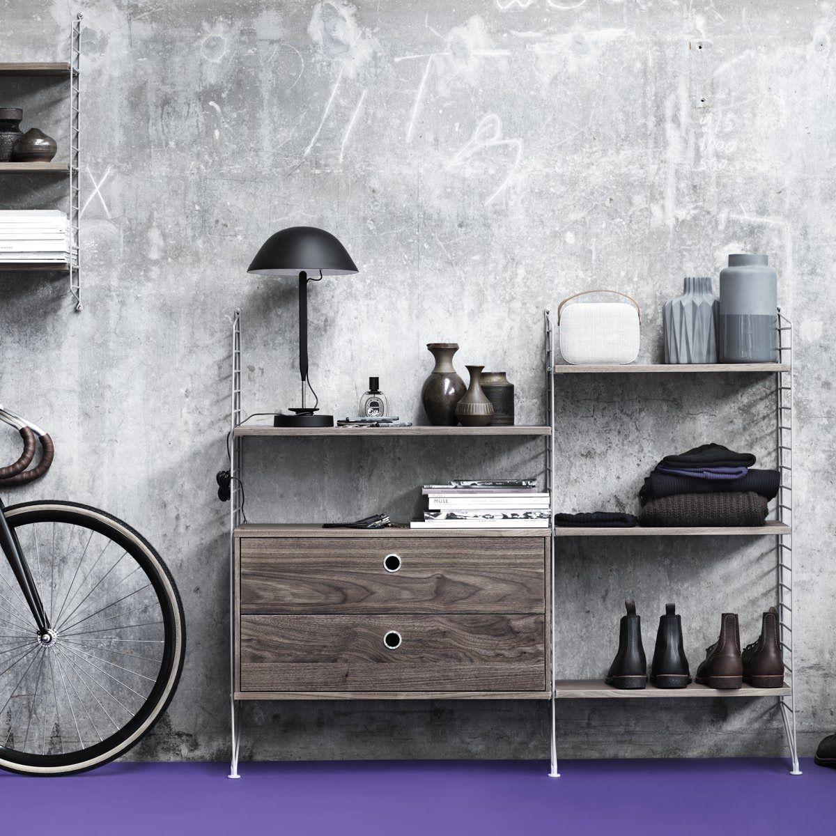 String Floor Panel 115 x 30cm walnut drawer cabinet