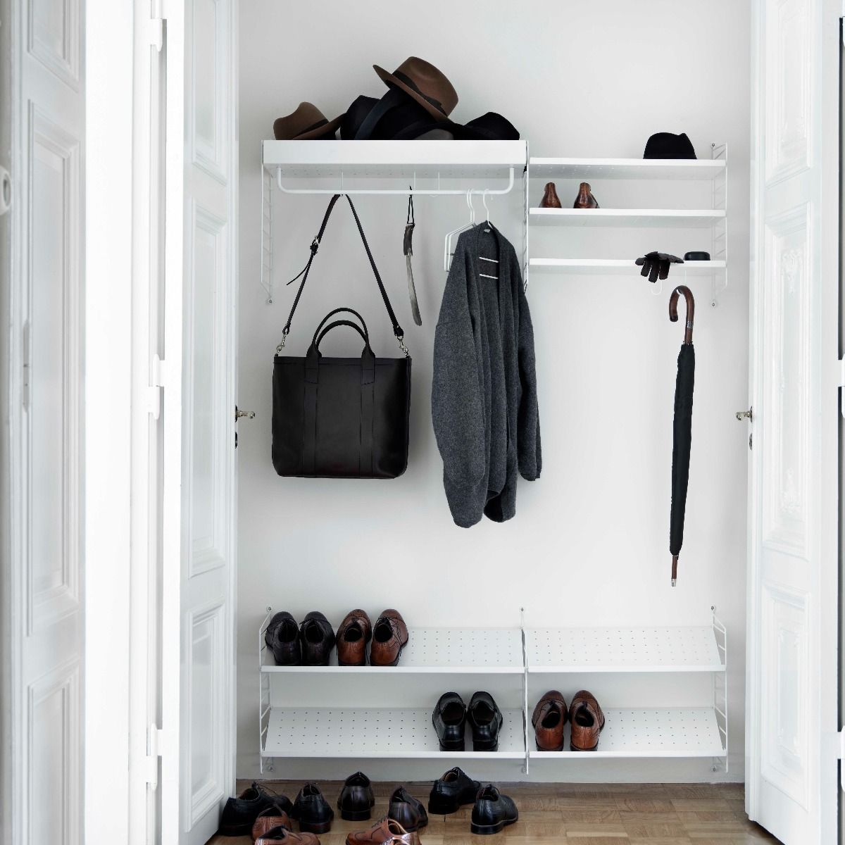 String shelving hall way system with shoe shelves