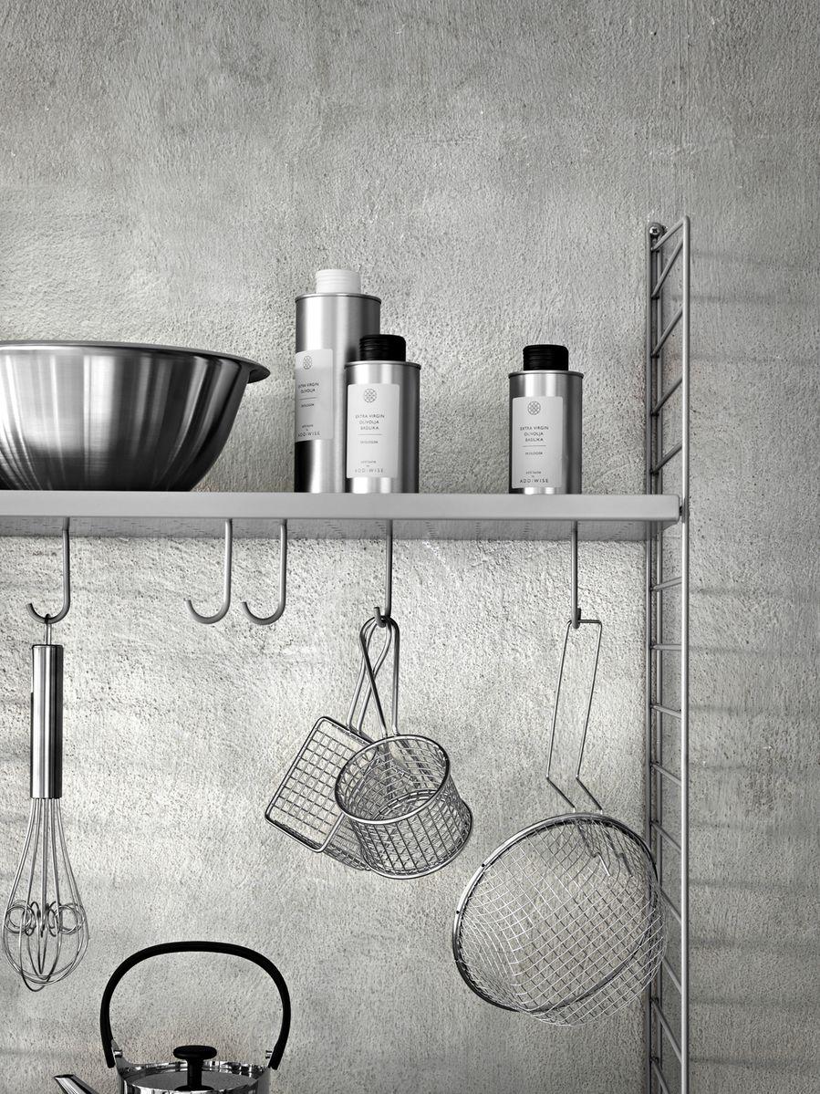 String + hooks for metal shelves 5pk on grey kitchen system