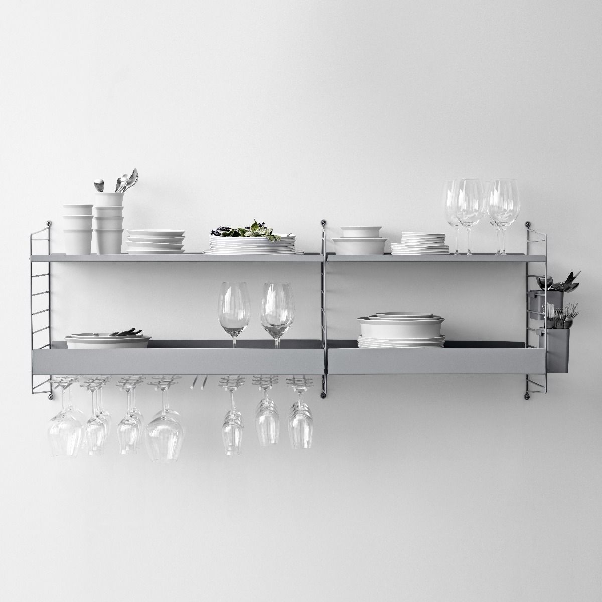 String metal shelves 78 x 30 in grey with wine glass hangers