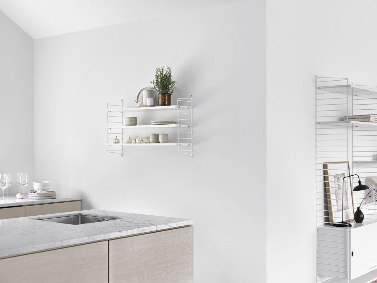 String Pocket Shelf  white in kitchen