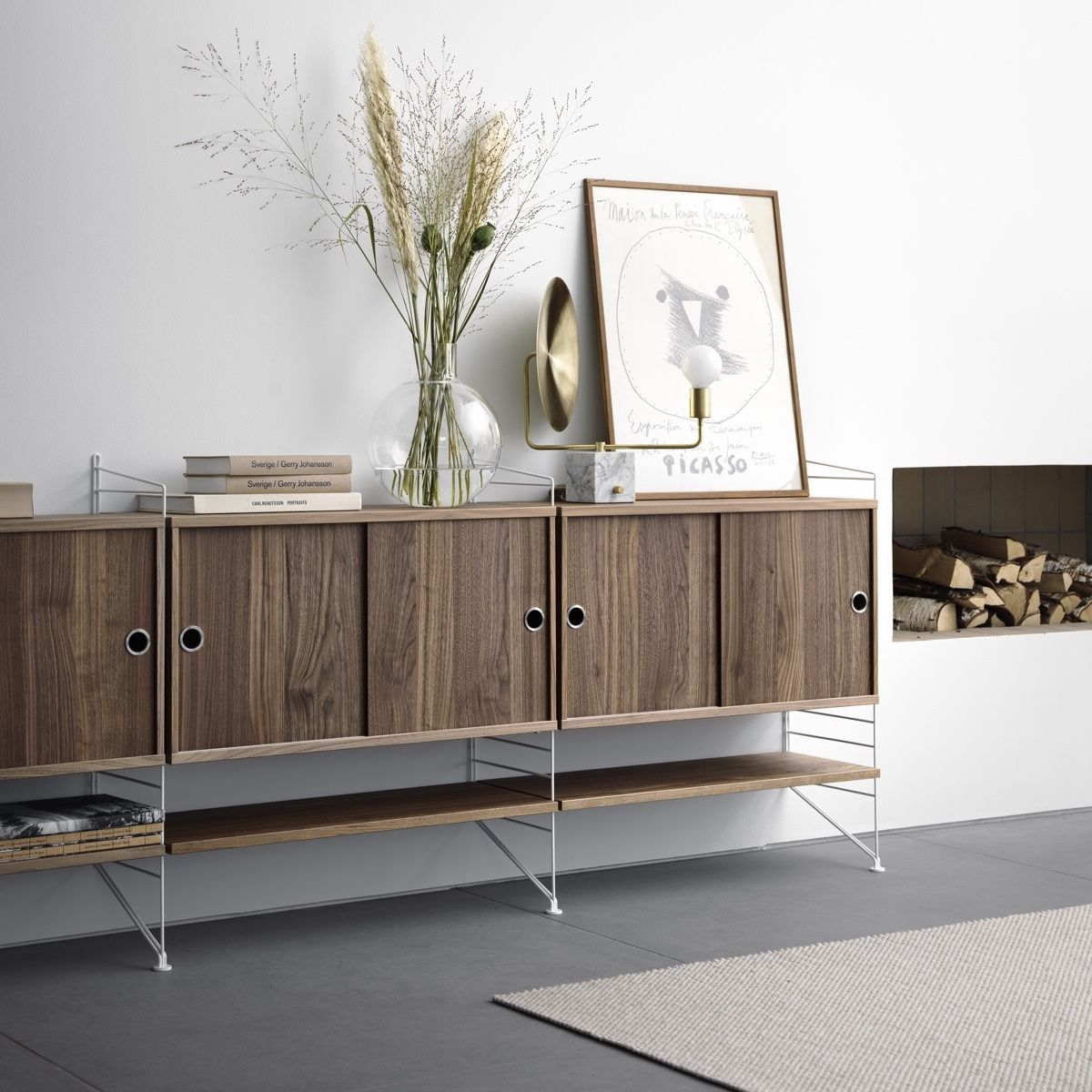 String shelving sideboard in walnut and shelves 78 x 30cm