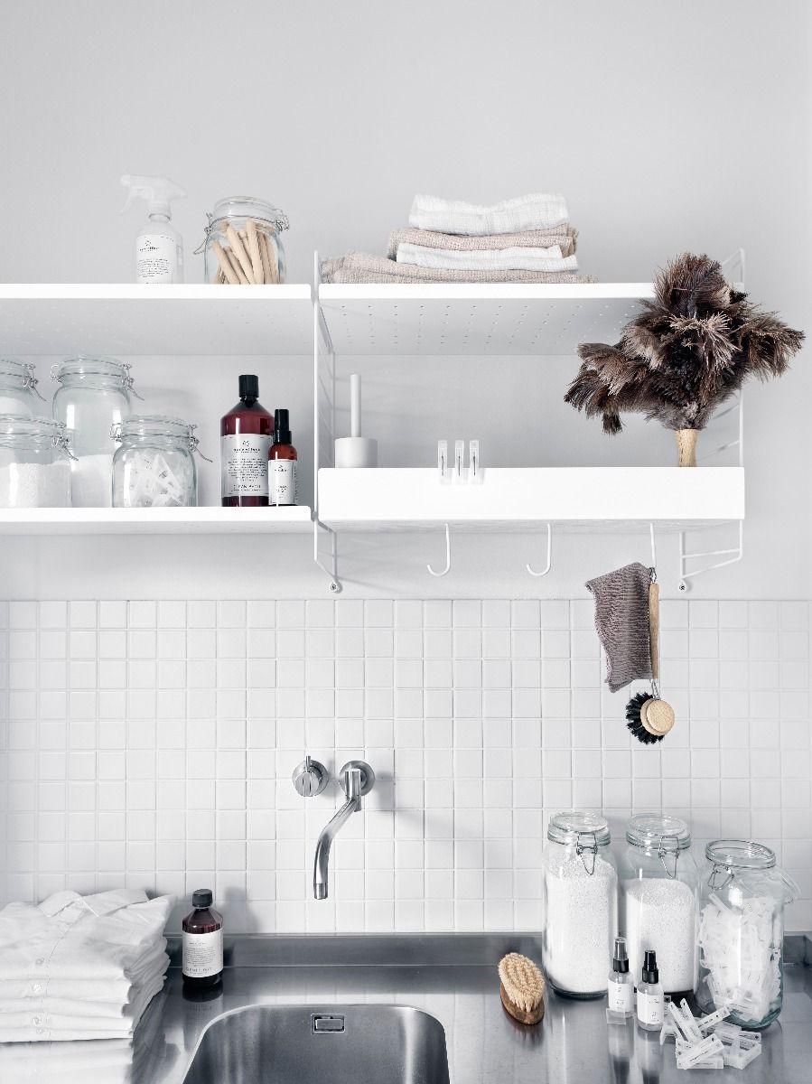 String + hooks for metal shelves 5pk in white kitchen system