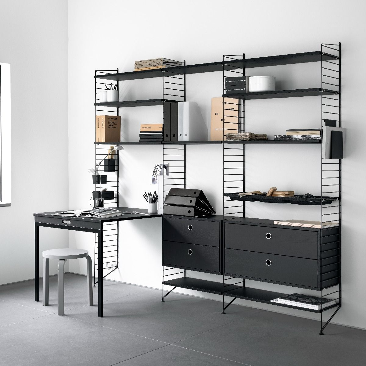 Black ash string shelving system including folding table and both 78 and 58cm drawers