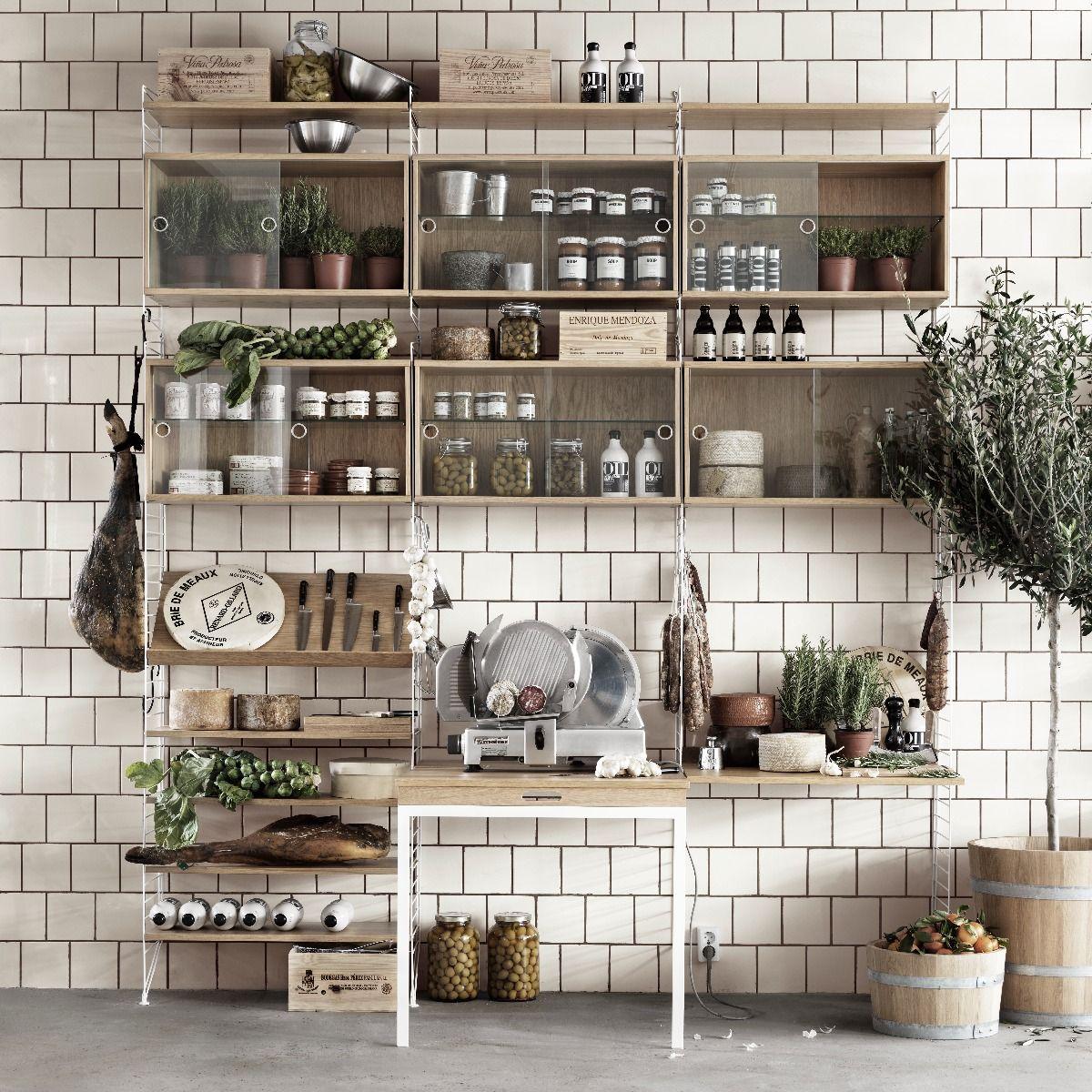 String Shelving Display Cabinet Oak in kitchen system