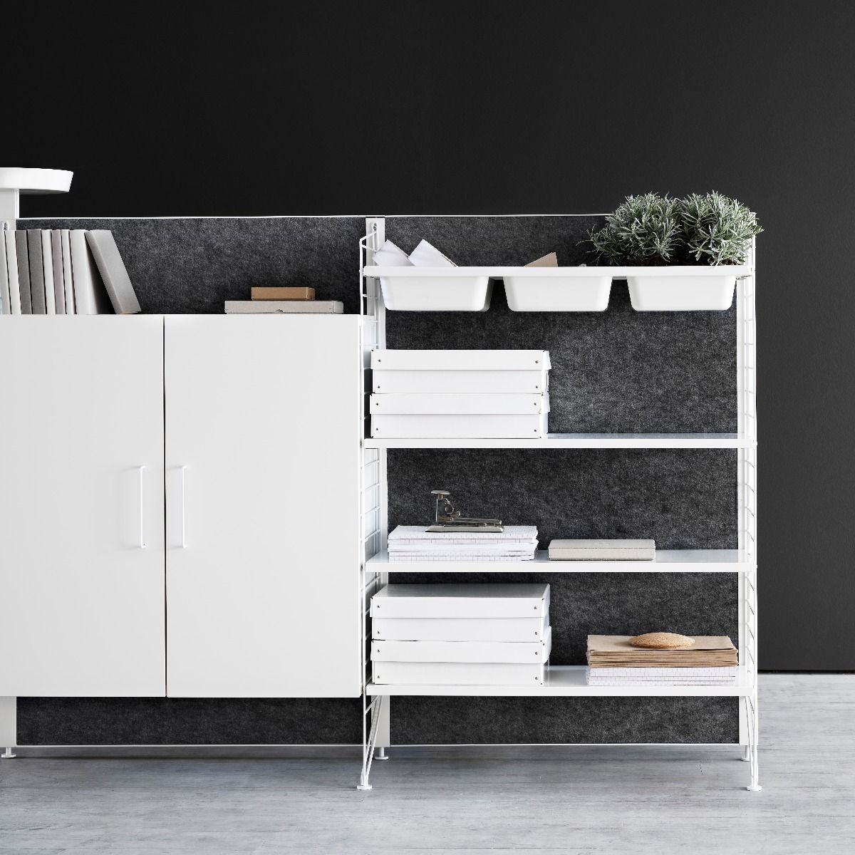 String works fabric screen with filing cabinet
