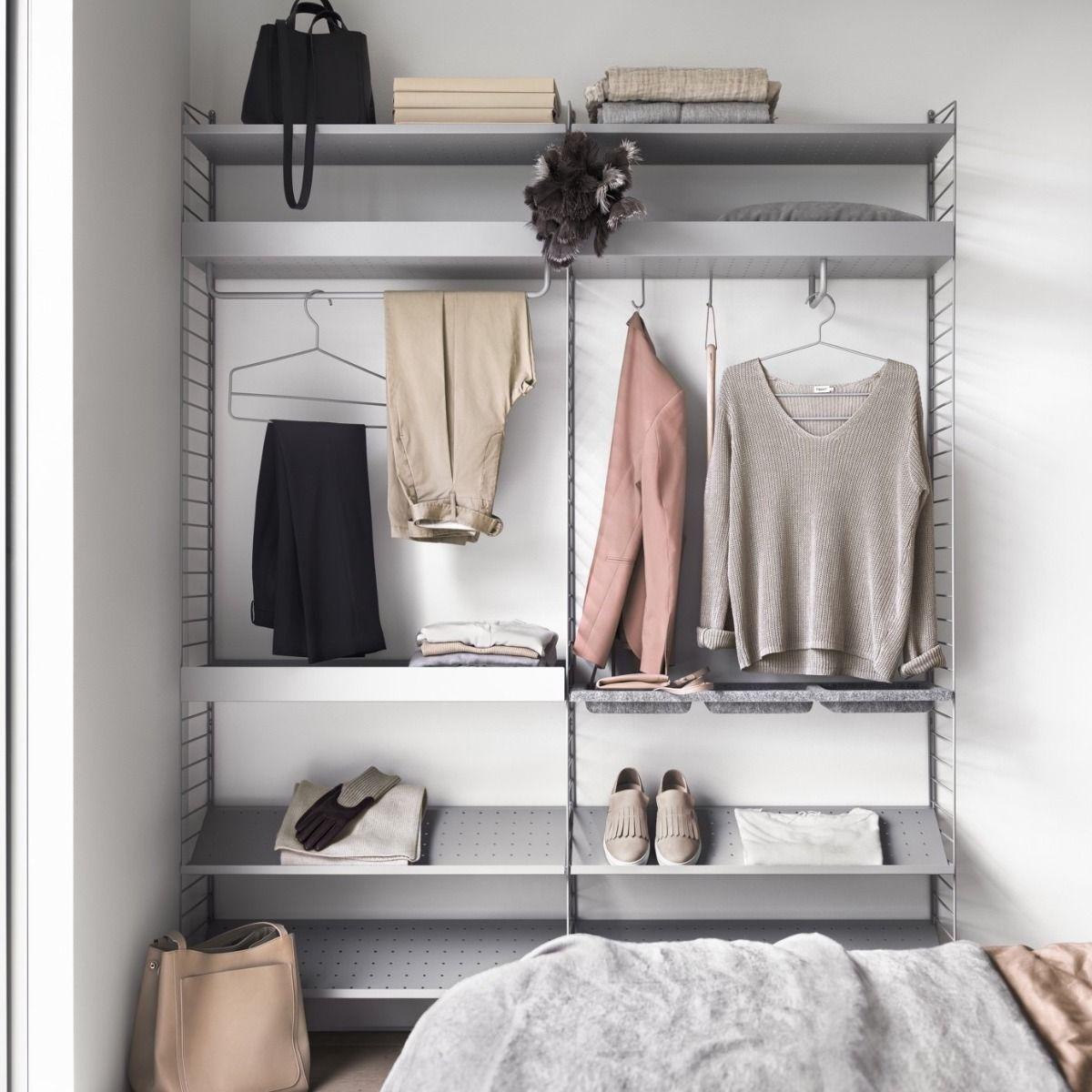 string shelving closet system grey with shoe shelves