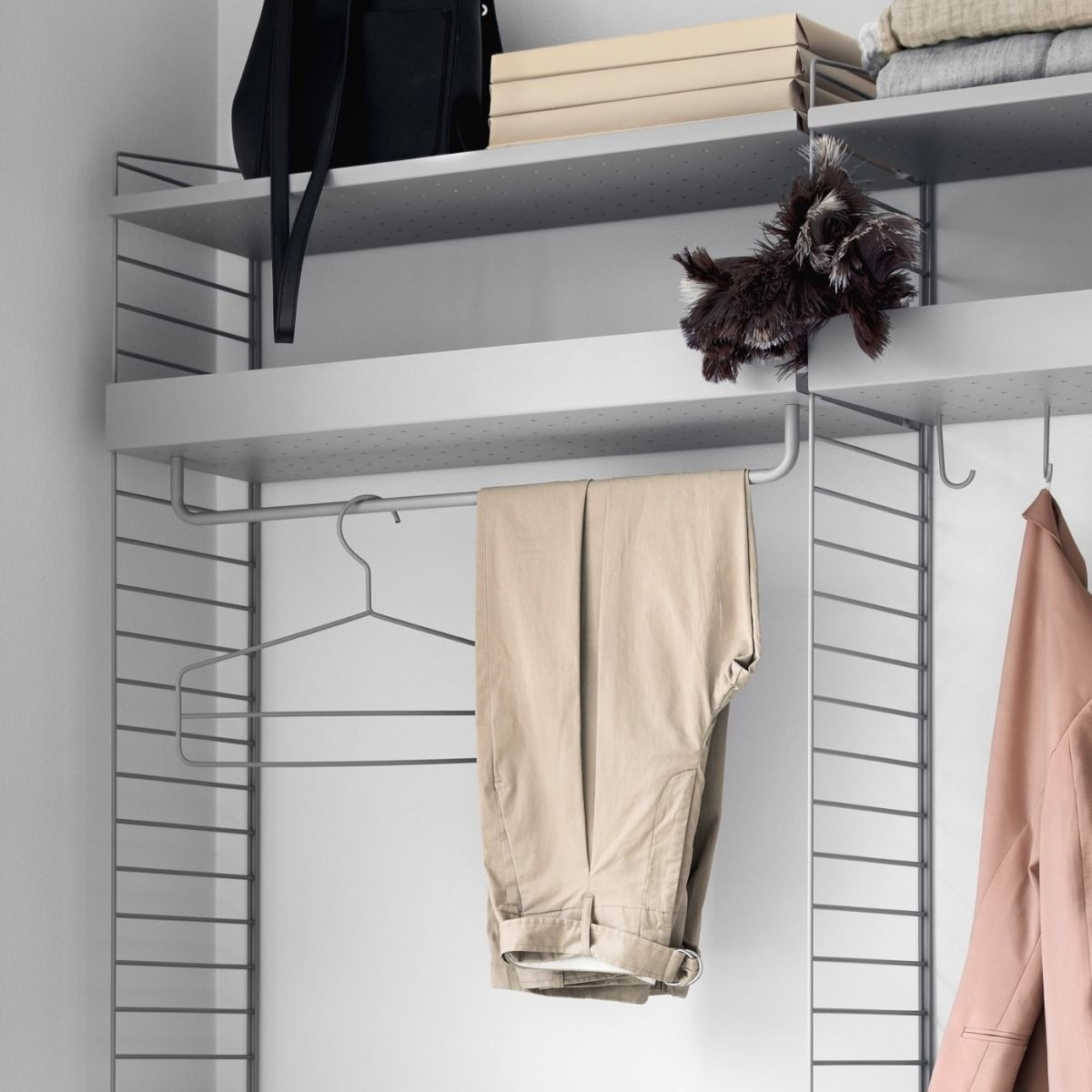 String metal shelves 78 x 30 in closet system