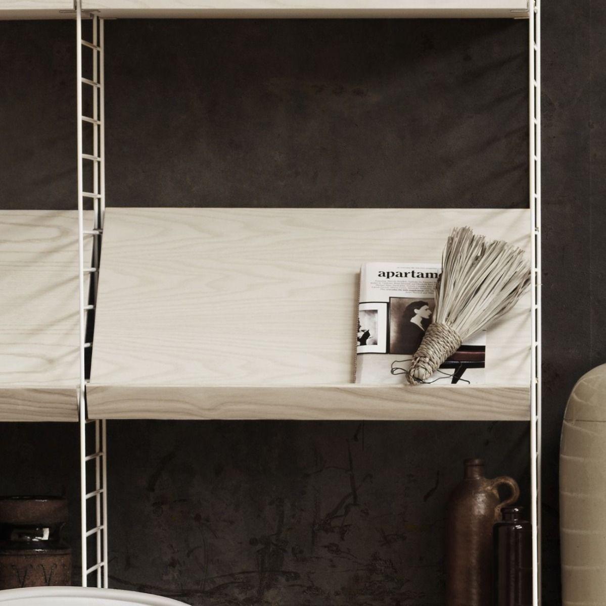String Shelving Wood Magazine Rack 58 X 30cm